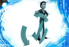3d man with recycle arrow and correct symbol illustration Royalty Free Stock Images
