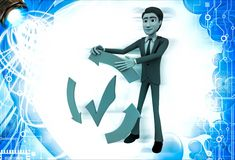 3d man with recycle arrow and correct symbol illustration Stock Photo