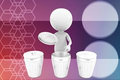 3d man recycle bin illustration Stock Photo