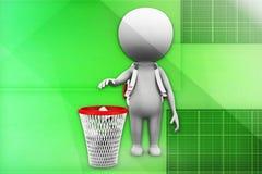 3d man recycle bin illustration Royalty Free Stock Photo