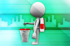3d man recycle bin illustration Stock Photography