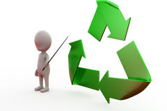 3d man recycle concept Stock Photography