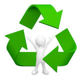 3D man with Recycle symbol Royalty Free Stock Images
