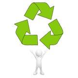 3D man with Recycle symbol Stock Photos