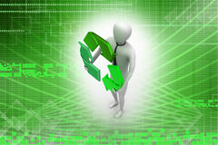 3d man with recycling sign Stock Photo