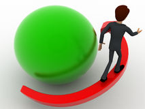 3d man with red arrow around green sphere concept Royalty Free Stock Photo