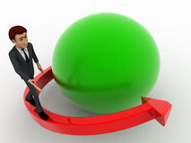 3d man with red arrow around green sphere concept Stock Photo