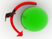 3d man with red arrow around green sphere concept Stock Images