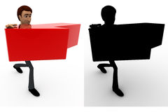3d man with red arrow in hand concept collections with alpha and shadow channel Royalty Free Stock Image