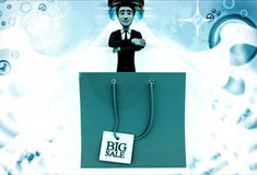 3d man with red bag big sale illustration Royalty Free Stock Photography