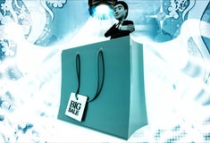 3d man with red bag big sale illustration Royalty Free Stock Image