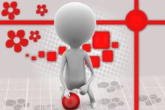 3d man with red ball illustration Stock Image