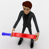 3d man with red and black magnifying glass concept Stock Photos