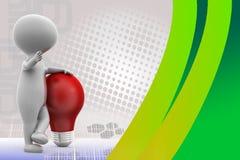 3d man red bulb illustration Stock Images