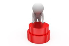 3d man red button concept Royalty Free Stock Image