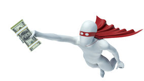 3d man in a red cloak with money.  Royalty Free Stock Photography