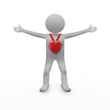 3d man with red heart. Isolated on white Stock Photography