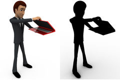 3d man with red laptop and packing it concept collections with alpha and shadow channel Royalty Free Stock Photography