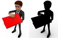 3d man with red laptop and packing it concept collections with alpha and shadow channel Stock Image