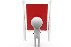 3d man red notice board concept Royalty Free Stock Photos