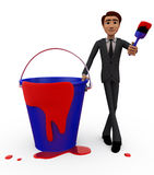 3d man red paint bucket concept Royalty Free Stock Images