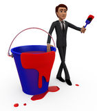 3d man red paint bucket concept Royalty Free Stock Image