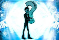 3d man with red question mark in hand illustration Stock Photography