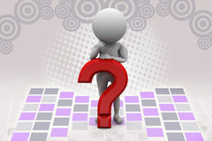 3d man on red question mark  illustration Royalty Free Stock Image
