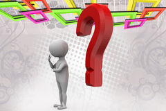 3d man with red question mark  illustration Stock Photos