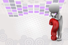 3d man on red question mark  illustration Royalty Free Stock Images
