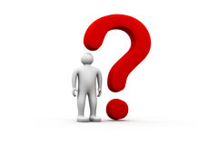 3d man with red question mark Royalty Free Stock Image