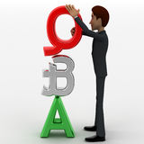 3d man with red silver and green question and answer concept Royalty Free Stock Images