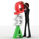 3d man with red silver and green question and answer concept Royalty Free Stock Photography