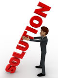 3d man with red solution text in hand concept Royalty Free Stock Photo