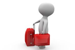 3d man with red suitcase concept Royalty Free Stock Photography