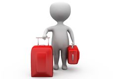 3d man with red suitcase concept Stock Image