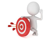 3D man with red target. 3D man stand near red aim target with three arrows. Goal luck strategy game business concept Stock Photography