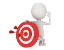3D man with red target. 3D man stand near red aim target with three arrows. Goal luck strategy game business concept Stock Images