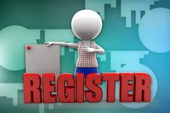 3d man register illustration Stock Images