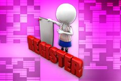 3d man register illustration Royalty Free Stock Photos