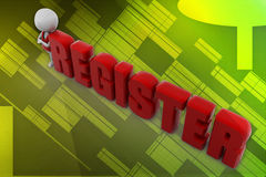 3d man register illustration Royalty Free Stock Image