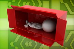 3d man relax inside a box illustration Royalty Free Stock Images