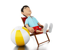 3d Man relaxed on a beach chair with a beach ball. 3d Illustration. Man relaxed on a beach chair with a beach ball. Holidays concept.  white background Stock Photos