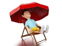 3d Man relaxed on a beach chair. Royalty Free Stock Photos