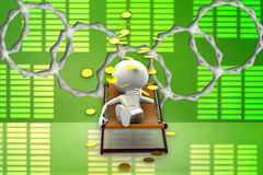 3d man relaxing on chair , gold coin rain illustration Stock Photo