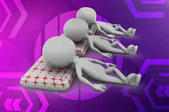3d man relaxing illustration Stock Images