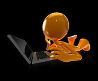 3d man relaxing with labtop Stock Images