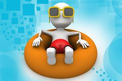 3d man relaxing in a pool illustration Stock Photography