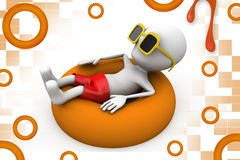 3d man relaxing in a pool illustration Stock Images