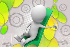 3d man relaxing on right sign illustration Stock Images